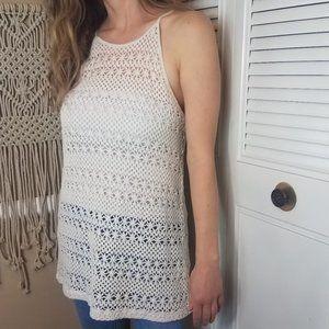 BB DAKOTA crochet white rebekah lace tank large